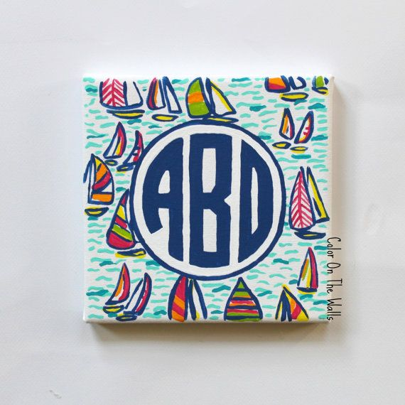 Hand Painted Circle Monogram On You Gotta Regatta Canvas - Lilly Pulitzer Inspired Monogram Canvas