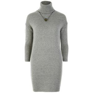 nümph Women's Roll Neck Jumper Dress - Light Grey: Image 01