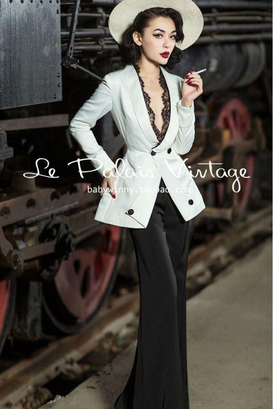 Le Palais Vintage elegant classic slim waist skirt lace suit jacket