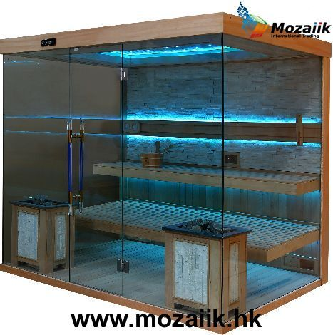 MOISE. CRYSTAL SAUNA MOZAIIK INTERNATIONAL. 1-6 PEOPLE dimensions : 250 x 180 x 210 cm  Roof : with theater ceiling starlight in 7 colors and LED strip light in 15 colors Backrest : LED strip light in 15 colors Door handles : crystal #saunas #wellness #saunasdealers