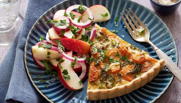 tærte med gulerod og grønkål