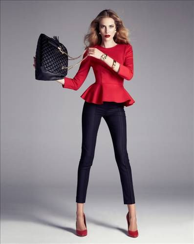 love the shape of top and pants. ignore the swinging bag. wear with black stilettos. corporate fashion. CORMONY.