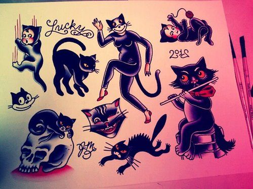 cat tattoo flash