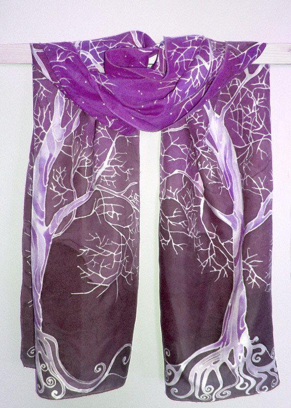Purple scarf 'Purple sky White Tree' - purple scarves - purple silk scarf - hand painted silk scarf violet - Habotai silk by MinkuLUL on Etsy https://www.etsy.com/listing/164945221/purple-scarf-purple-sky-white-tree
