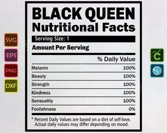 Black Queen Svg Nutritional Facts Svg African American Etsy Nutrition Facts Black Queen Svg Quotes