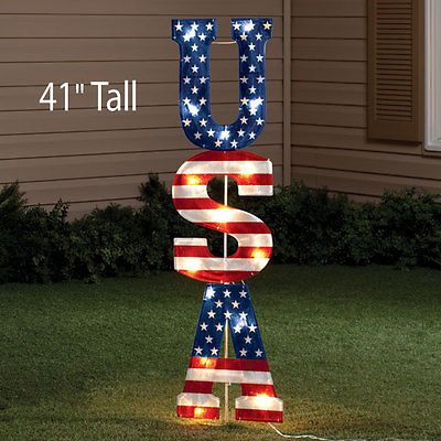 USA American Lighted Sign 4th of July Patriotic Holiday Indoor Outdoor Decor