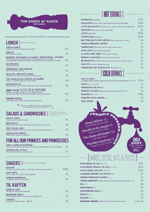 menu: clean, vintage, fun, simple, family etc...