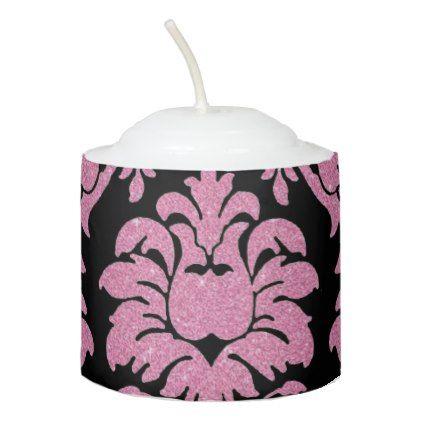 Girly pink glitter black vintage floral Damask Votive Candle - glitter glamour brilliance sparkle design idea diy elegant