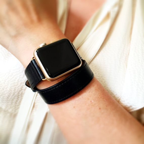 Black hand-stitched Apple watch leather double tour band with OPTION for silver, gold, rose gold, space gray or black hardware.  This band has black stitching. This soft leather double tour band is exquisite. If you would like to see photos of this band with other hardware colors, please look for it in the other sections of my shop.  Very easy to attach. No tools necessary. Limited supply.  ADAPTER SIZE   42mm or 38mm  The adapters fit the Apple Watch I, Apple Watch 2 and the Appl...