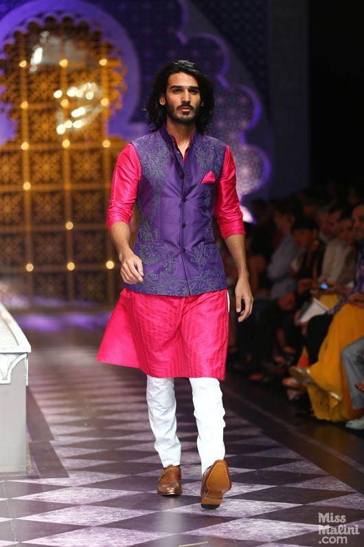 Kutra and nehru jacket in bright, contrasting colours. #indianwedding -- From IBFW 2013