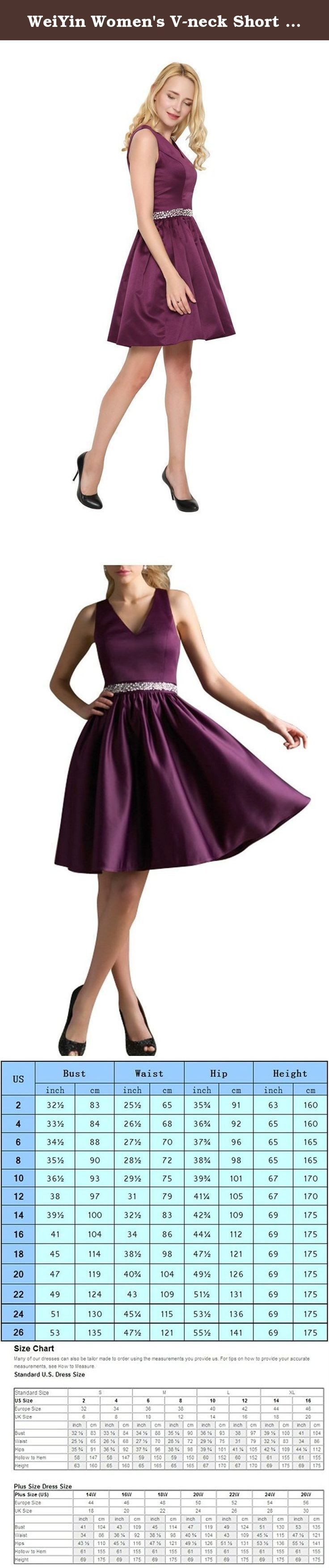 WeiYin Women's V-neck Short Cocktail Dress Bridesmaid Dresses Plum US 16. Women's V-neck short dress Bridesmaid Dresses Cocktail Dresses Cocktail Dresses.