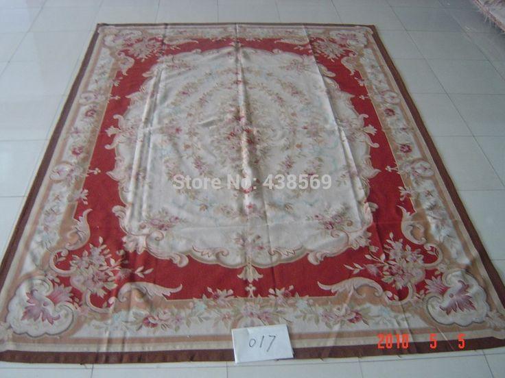 Бесплатная доставка 9'x12' Aubusson ковры шерстяные ковры яркий красный цвет потертый шик ковры -- все виды ковры в нашем магазине