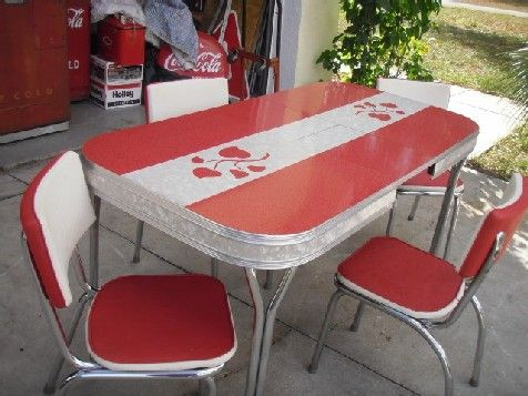 Retro laminate table red 1950s original formica dinette - Vintage formica kitchen table and chairs ...