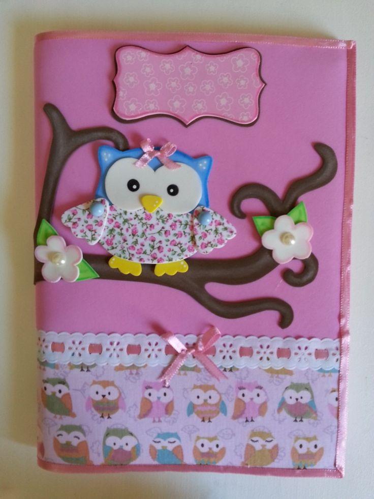 Caderno decorado com tecido e EVA <br>ou Capa de caderno removível em tecido e EVA <br>Faço outros temas