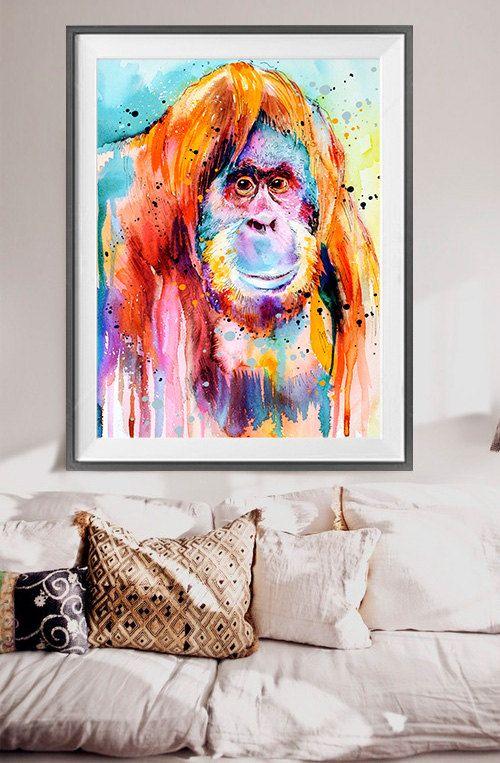 Orang-Utan-Aquarell drucken, Kunst, tierischen Watercolor, Affen-Kunst, Affe Aquarell, Orang-Utan Kunst, Tier, Illustration kaufen zwei erhalten eine