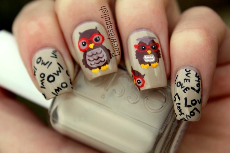 owl nails eulen n gel sweet nailart pinterest. Black Bedroom Furniture Sets. Home Design Ideas