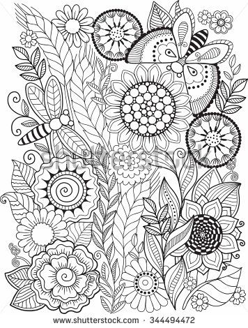 Coloring Book For Adult Summer Flowers Vector Elements