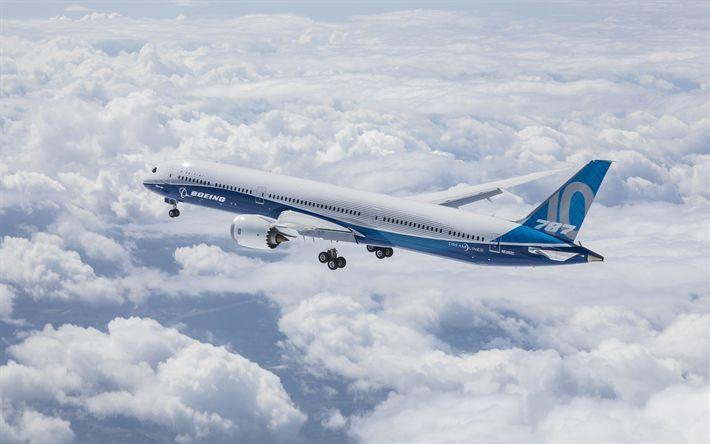 Download wallpapers Boeing 787 Dreamliner, 4k, passenger plane, civil aviation, Boeing 787, Boeing