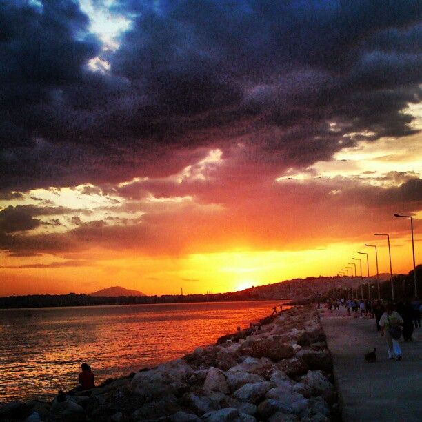 #Athens #Greece #Flisvos #Floisvos #afternoon #spring #summer #Faliro #sunset #sea #clouds #sun