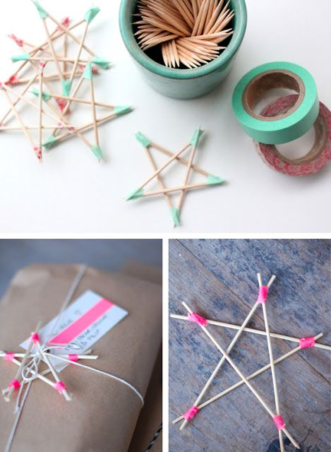 toothpick/washi tape stars...can be used for ornaments or gift toppers...