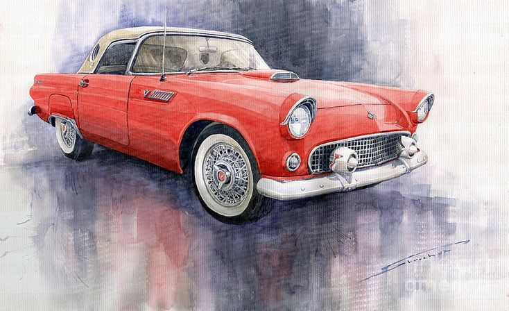 Yurly Shevchuk   WATERCOLOR       Ford Thunderbird 1955 Red Painting