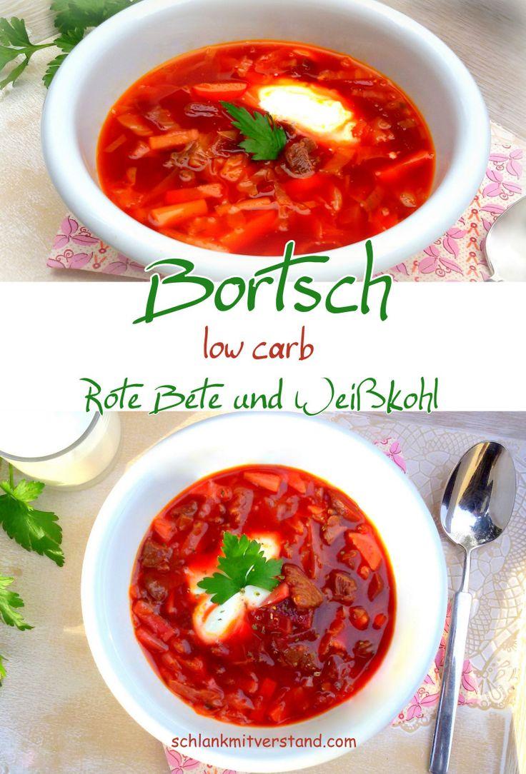 Borschtsch / Bortschlow carb Borschtsch ist eine wärmende und gut sättigende Suppe, diemit Roter Bete und Weißkohlzubereitet wird und deren Zubereitung vor allem in Ost- und Ostmitteleuropaverbreitet ist. Mir schmeckt die low carb Variante mindestens genauso gut, wie der traditionell zubereitete Borschtsch. #abnehmen #lowcarb #Ernährung #essen #kochen #Rezept #deutsch #Food #gesund