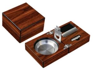 "Folding Ashtray Set      4-3/4"" W x 4-3/4"" D x 3"" H     High Gloss Walnut Finish     Stainless Steel Matching Accessories     Guillotine Cutter     Punch Cutter     Cigar Bed     Stainless Ash Reservoir"