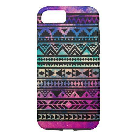 Colorful Cute Girly Nebula Space Aztec Pattern iPhone 7 Case - tap to personalize and get yours