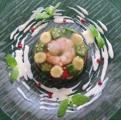 夏の前菜に♪小エビとカラフル野菜のゼリー寄せ by ルシッカさん ...