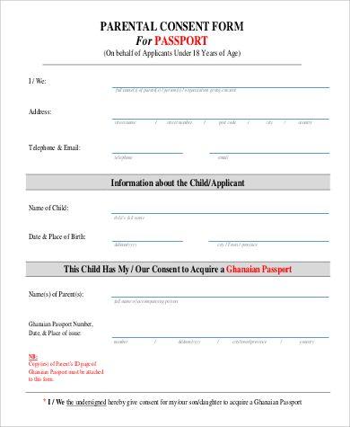 passport consent form sample examples pdf child travel nigeria legal templates agreements