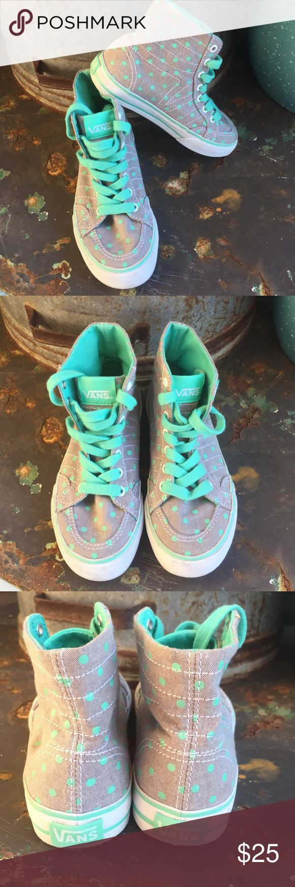 VANS Gray/Mint Green Polka Dots Missy Size 10.5. Great condition as photos show. Gray with mint green polka dots and mint green shoe laces reasonable offers welcome Vans Shoes Sneakers