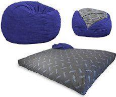 Convertible Bean-Bag Chair Converts From a Chair To a Mattress Bed