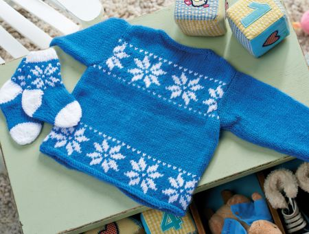 Snowflake Baby Cardigan - free pattern download from Let's Knit!
