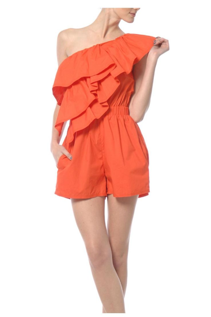 This one shoulder ruffle jumper looks great with wedges or strappy sandals.   Ruffle Romper by Ryu. Clothing - Jumpsuits & Rompers - Rompers Houston, Texas