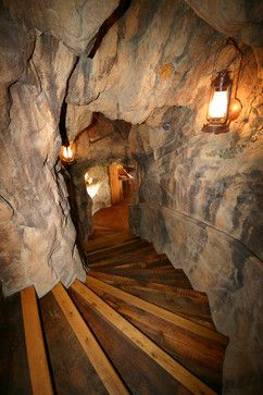 Awesome entrance to the Man Cave. Man Cave Design Ideas, Pictures, Remodel, and Decor   Stairway leading to the man cave.