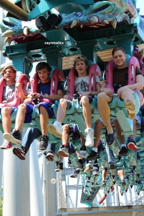 louis, liam, niall, and olly on a ride at universal. Ahhhhhhh I've been on the exact same ride as them!!!!!!!!!