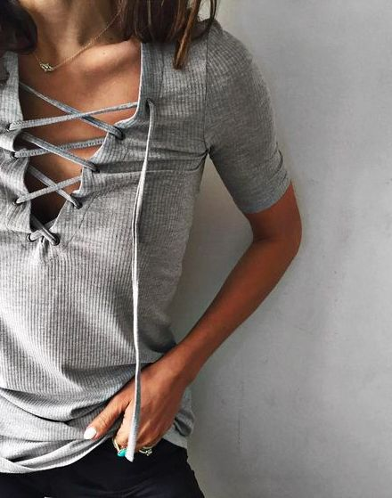 lace up ribbed tee #ecote