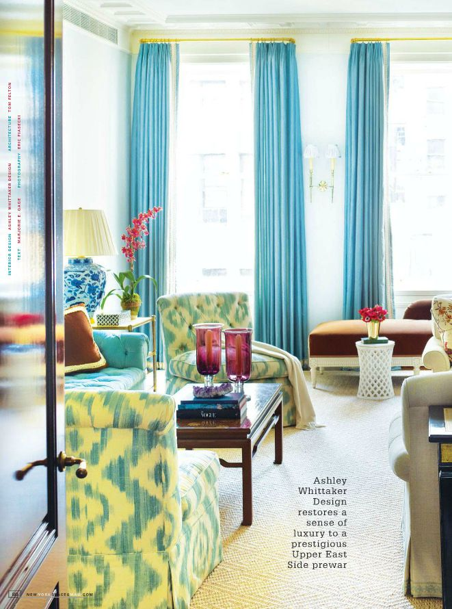Traditional Living Room Looks Great In Fun Shades Of Turquoise And Yellow This Home Was Featured