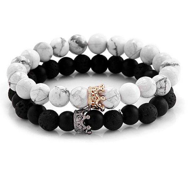 Black Green Marble leather beaded bracelet