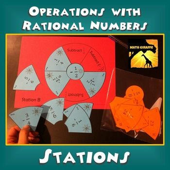 Rational Numbers (Positive and Negative Fractions) - Adding, Subtracting, Multiplying, & Dividing:  Students self-differentiate with an option of two different card sets at each station.