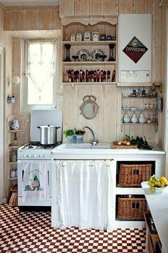 Cucina piccola e rustica arredamento shabby kitchen - Arredamento cucina piccola ...