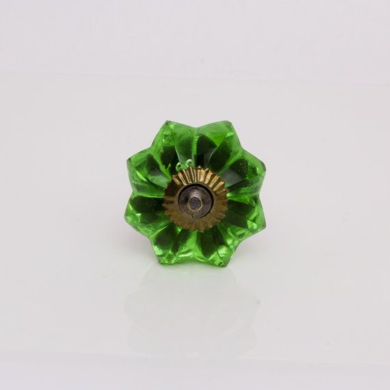 Green Glass Door Knob for a Kitchen Cabinet, Cupboard or Dresser Drawer with Antique Fittings, Small Glass Cupboard Handle or Draw Pull
