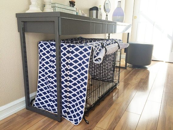 Modern Designer Baja Fret Blue Marine Dog Pet Wire Kennel Crate Cover Only Home Decor By
