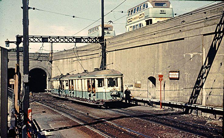 Tram emerging from the Wynyard tram tunnel.