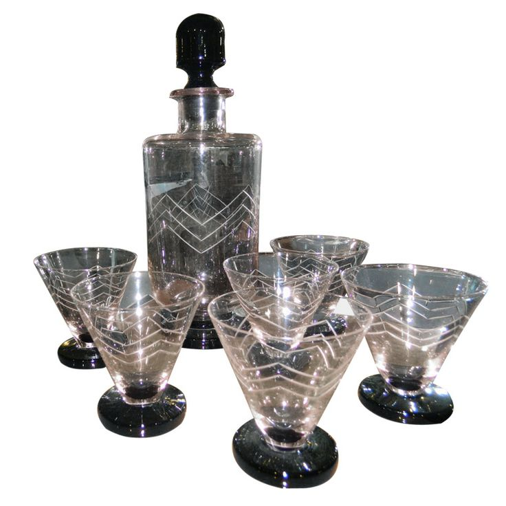 Unusual French Art Deco etched Glass Decanter Cocktail set | From a unique collection of antique and modern barware at http://www.1stdibs.com/furniture/dining-entertaining/barware/