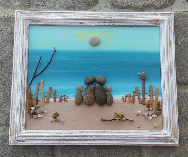 "Pebble Art family of four (parents and two children) on the Beach set in an ""open"" 9x12 wood frame by CrawfordBunch on Etsy"