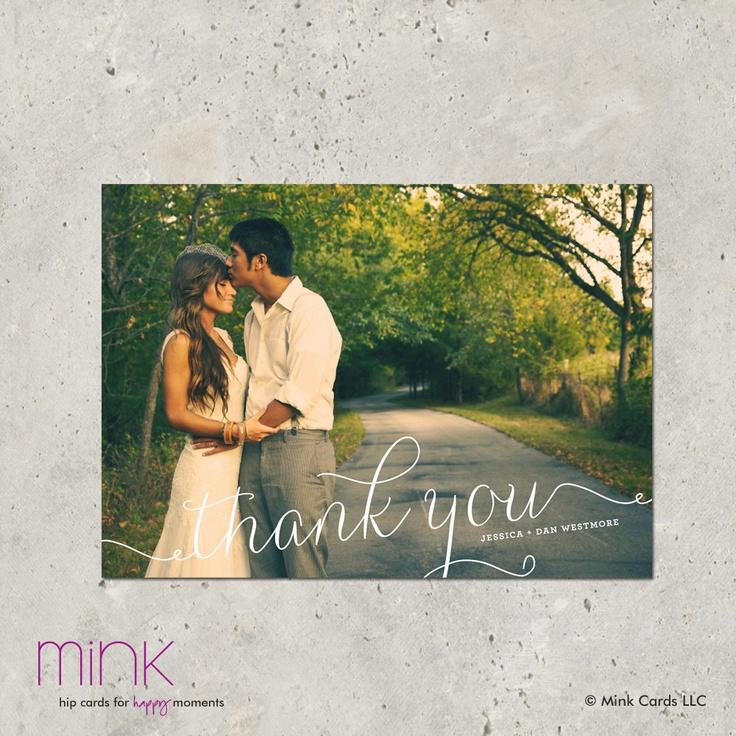 "wedding thank you photo card - ""Swirl"". $64.00, via Etsy."
