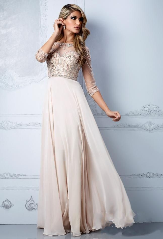 Wholesale 2015 party Dresses Sexy Sheer Neck Half Sleeve Keyhole Champagne Chiffon Plus Size Pageant A-Line Long Rhinestone/Crystals Prom Dresses, Free shipping, $150.79/Piece | DHgate Mobile