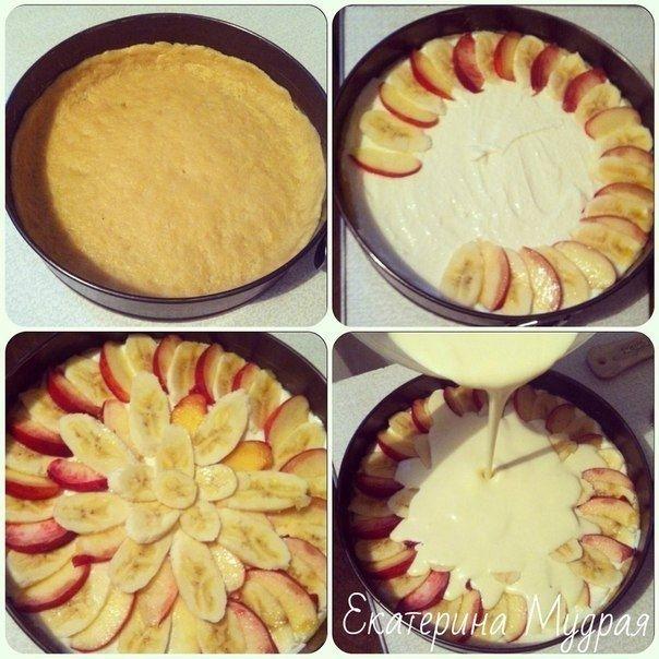 Фото к рецепту: Творожная запеканка с персиками/бананами в сметанной заливке