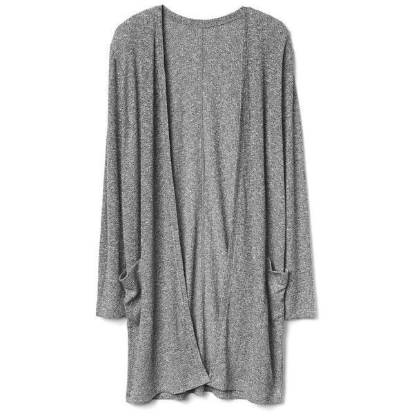 Softspun knit open-front long cardigan | Gap ❤ liked on Polyvore featuring tops, cardigans, knit top, long cardigan, knit cardigan, open front tops and open front cardigan